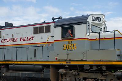 JOED VIERA/STAFF PHOTOGRAPHER-Lockport, NY-A train goes over the recently fixed tracks on Niagara Street.