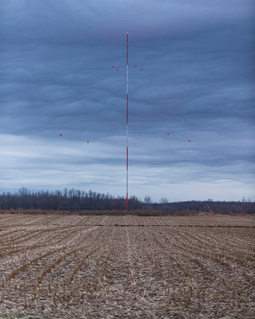 Joed Viera/Staff Photographer-Weather forms behind one of Apex Wind's Somerset met towers.