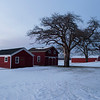 JOED VIERA/STAFF PHOTOGRAPHER-Somerset, NY-The sun goes down on barns behind the Babcock House Museum.