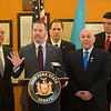 JOED VIERA/STAFF PHOTOGRAPHER-Lockport, NY-During a Press Conference Senator Robert Ortt along with Niagara County Clerk Joseph Jastremski, Assemblyman Mike Norris (R Lockport) and Assemblymen Angelo Morinello (R Niagara Falls) and Niagara County Sheriff James Voutour implore Governor Cuomo to delay the pistol permit recertification deadline set forth under the NY SAFE Act.