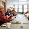 Joed Viera/Staff Photographer-(From left)Dick Plump, Sarah Benedetti, Dan Hahn and Lorraine Sutterby play a game of Euchre at the Dale Association. In between games the seniors shared their thoughts on our president.