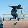 Joed Viera/Staff Photographer-Vincent Lombardo catches air during a kickflip at Railyard Skate Park.