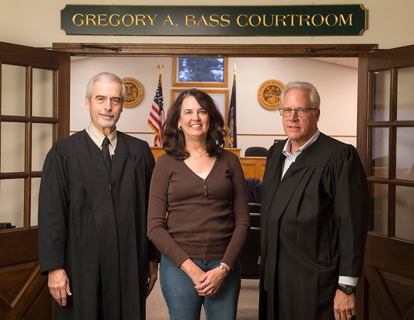 Joed Viera/Staff Photographer-Retiring Town Judge Gregory Bass, Court Clerk Daphne Nieman and incoming Judge James Budde. (check spelling!!!!!)