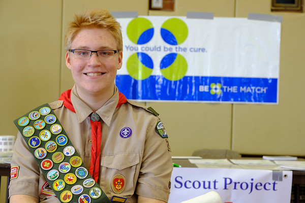 Joed Viera/Staff Photographer-Boy Scout Wesley Harris' Eagle Scout project is enlisting individuals potential bone marrow donors.