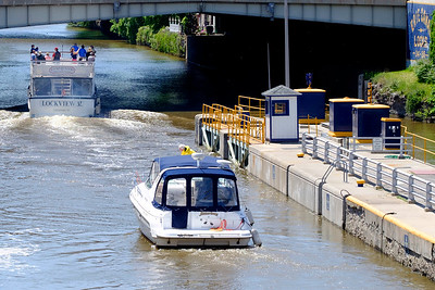 JOED VIERA/STAFF PHOTOGRAPHER-Lockport, NY-Lockview V and Jitterbug exit the Locks Wednesday afternoon.