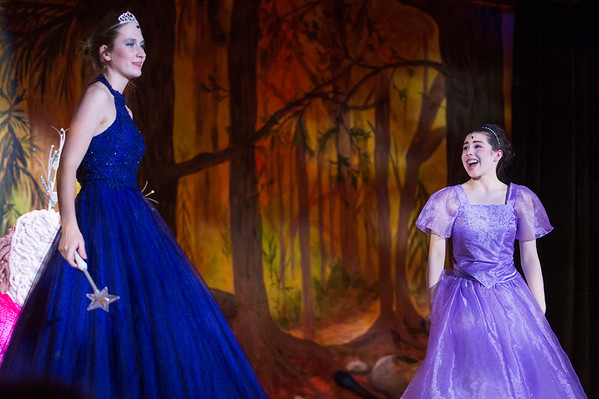 JOED VIERA/STAFF PHOTOGRAPHER-Sophia Weber and Madeline Keys perform as the Fairy Godmother and Cinderella during dress rehearsals for Royalton Hartland's production of Cinderella.