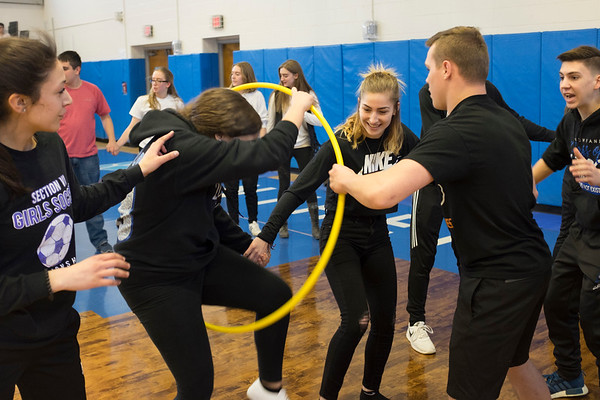 Joed Viera/Staff Photographer-Newfane High School Seniors play a game during a pep rally Friday afternoon. Friday was the last day of school for students before their two week long spring break.