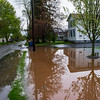 JOED VIERA/STAFF PHOTOGRAPHER-Lockport,NY- Rain waters flood a Center Street Yard in Lowertown.