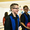 Joed Viera/Staff Photographer-Newfane High School's unified bowlers Zachary Murray and Natty Wheeler laugh in between sets during the section VI unified sports bowling tournament at Brad Angelo Lanes.