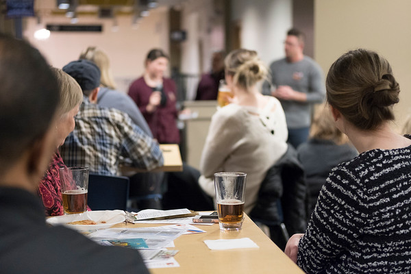 JOED VIERA/STAFF PHOTOGRAPHER-A crowd of supporters gathered for the second Pints for Progress event at the Cornerstone Arena Wednesday night..