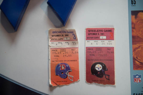 JOED VIERA/STAFF PHOTOGRAPHER-Lockport, NY-Ticketstubs from Matt Devine's first two Bills games.