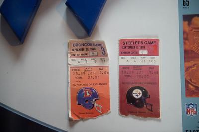 JOED VIERA/STAFF PHOTOGRAPHER-Lockport, NY-Ticketstubs from Matt Devine's first two Bills games.