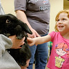 "JOED VIERA/STAFF PHOTOGRAPHER-Lockport, NY-Ryley Curthoys, 3, pets Benjamin, a holland lop rabbit held by Buffalo Zoo Outreach Program specialist Robin Sanecki after listening to  Sanecki read""Quiet Bunny"" in the Lockport Library Community Room during the Zootales program."