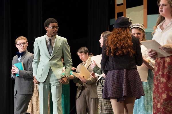 Joed Viera/Staff Photographer-Students perform during Lockport High School's production of 'How to Succeed in Business Without Really Trying' Friday night.