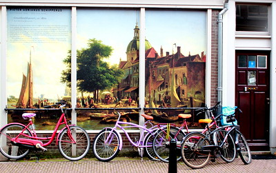 Pastel Bicycle Mural on Art Street Dordrecht