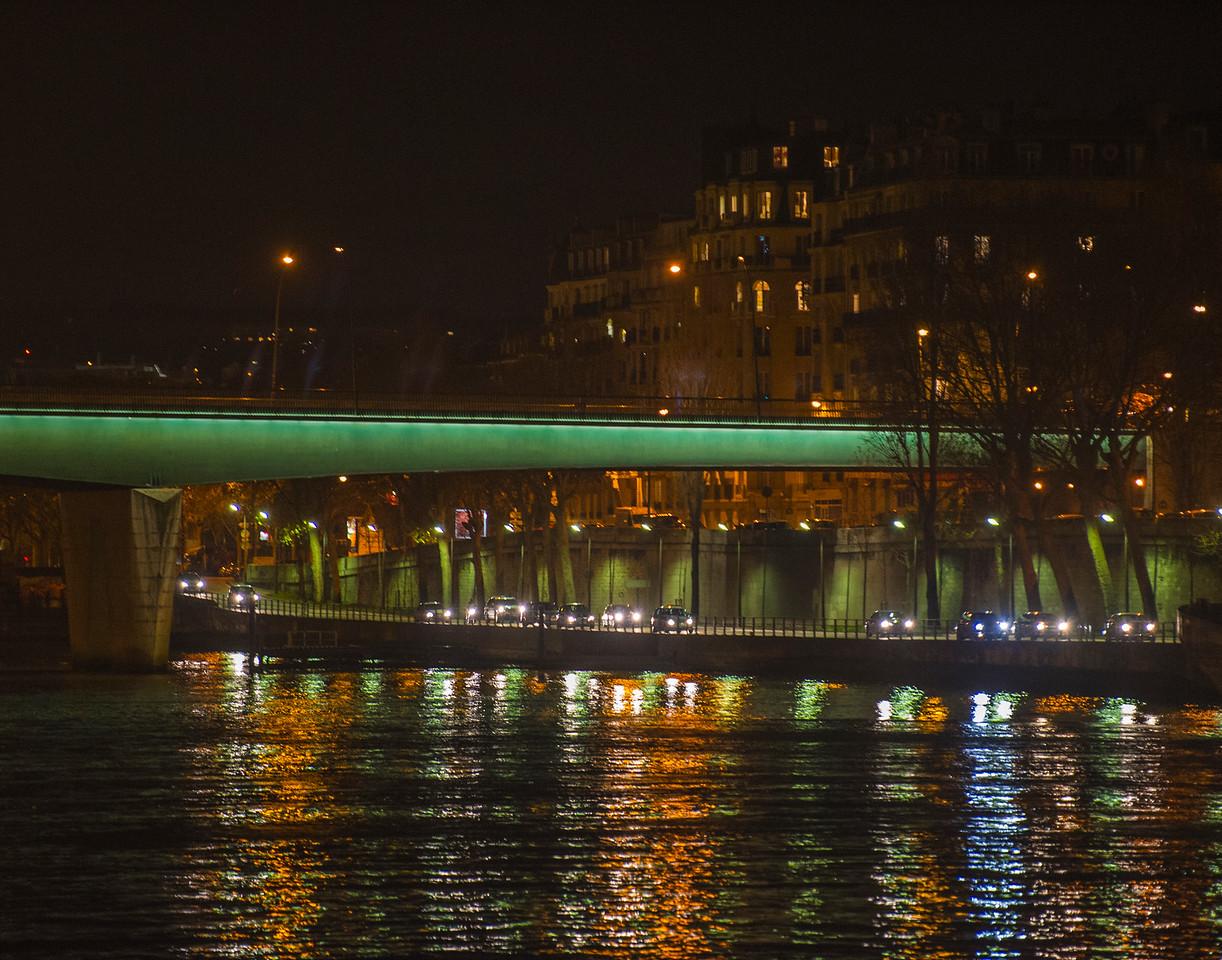 Voie Georges Pompidou after sunset