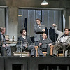 (L-R) Baritone Malcolm MacKenzie is Schaunard, bass-baritone Christian Van Horn is Colline, tenor Harold Meers is Rodolfo, bass Scott Sikon is Benoit and baritone Morgan Smith in Marcello  in San Diego Opera's LA BOHEME (January/February 2015). Photo by Ken Howard, 2015.
