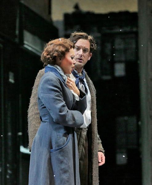 Soprano Alyson Cambridge is Mimi and tenor Harold Meers is Rodolfo in San Diego Opera's LA BOHEME (January/February, 2015). Photo by Ken Howard.