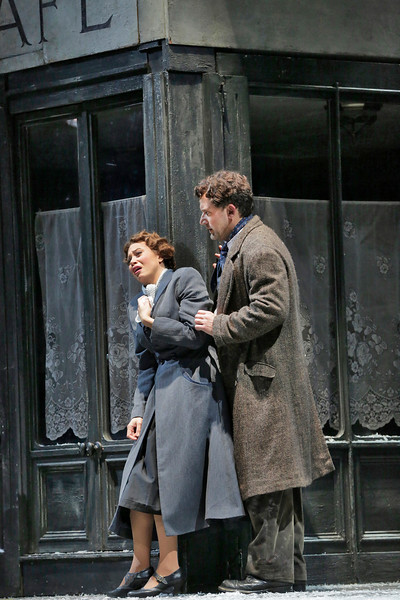 Soprano Alyson Cambridge is Mimi and baritone Morgan Smith is Marcello in San Diego Opera's LA BOHEME (January/February, 2015). Photo by Ken Howard.