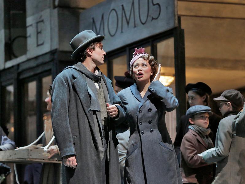Tenor Harold Meers is Rodolfo and soprano Alyson Cambridge is Mimi in San Diego Opera's LA BOHEME (January/February 2015). Photo by Ken Howard, 2015.