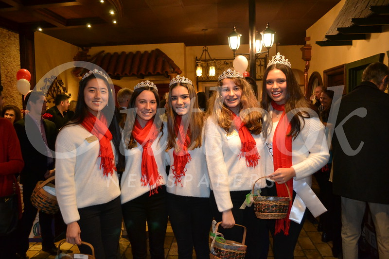 Royal Court members Sophie Lin, Sarah Peck, Audrey Raulli and Kat Hightower with Miss La Cañada Flintridge Francesca Christensen