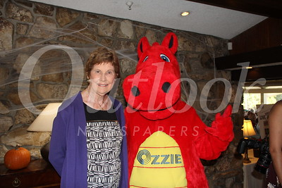 1532 Guild President Joan Cleven with OIC mascot Ozzie