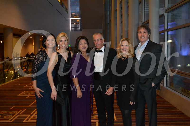 Gala chairs Caroline Anderson and Holly Biondo, LCFEF Executive Director Marilyn Yang, LCFEF President Kevin Martin, and honorees Vicki and Brad Schwartz