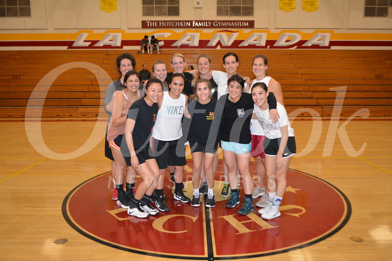 LCHS alumnae team: Stephanie Musso (front row, from left), Sydney Lew, Kristene Hossepian, Sarah Borland, Tia Chen and Courtney Chen. Back: Grace O'Hara, Sydney Zarate, Courtney McCutchan, Maggie Kolina, Shannon O'Hara and Shannon Denney.