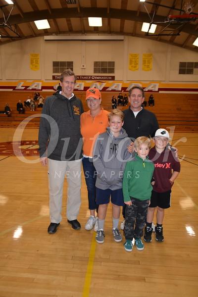 Coach Tom Hofman with Jason Pittman's relatives: Brian and Patti Sprock with Andrew Klein, Alexander Sprock and Matthew Klein