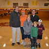 Coach Tom Hofman with Jason Pittman's relatives: Brian and Patti Sprock with Andrew Klein, Alexander Sprock and Matthew Klein
