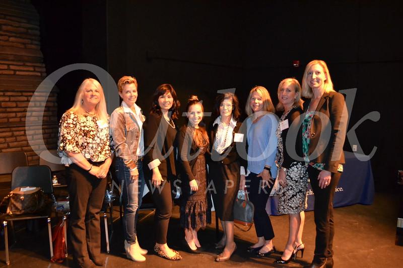 La Cañada Elementary School recipients: Andrea Redecker, Lee Chumo, Julie Bae, Jennifer Crocker, Sonik Arutyunyan, Karyn Perez and Cathy Kleinahlbrandt with LCE Principal Emily Blaney.