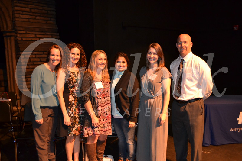 La Cañada High School 7/8 recipients: Christa Evans, Caren Saiet, Shannon Ortiz, Asia Hasan and Megan Denver with 7/8 Principal Jarrett Gold