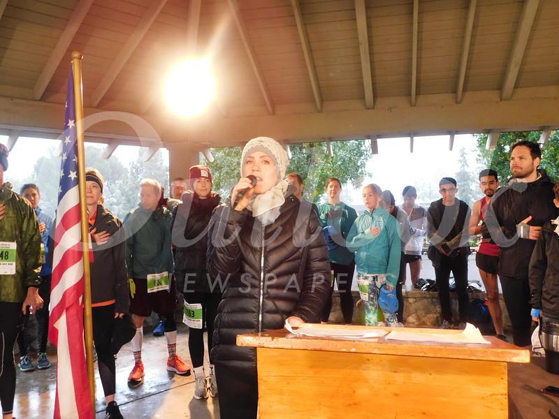 Kathrin Jakob sings the national anthem.
