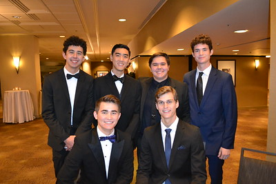 Will Ferguson (seated) and Ian Tinkham. Back: Carston Petersen, Ryan Lui, Griffin Dilbeck and Liam Hartman