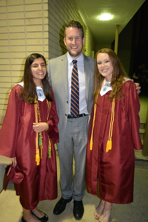 Principal Ian McFeat with student speakers Saira Singh and Holly Stoner 575