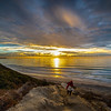 Black's Beach Surfer At Sunset