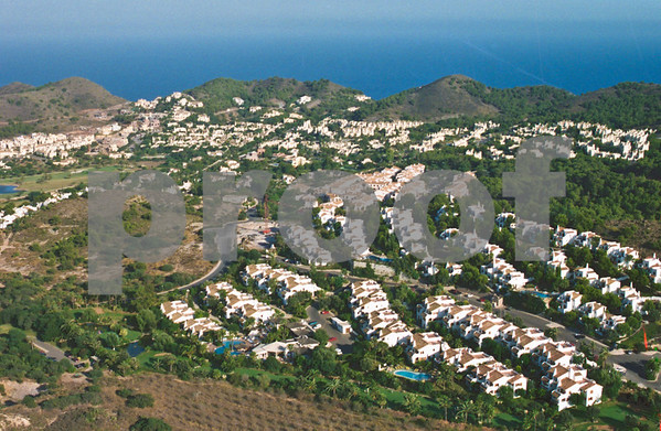 Aerial view of La Manga Club overlookingLa Quinta Club, Las Palmeras, Los Altos 2, Bellaluz, El Rancho, Los Molinos and El Forestal, August 28th 1997