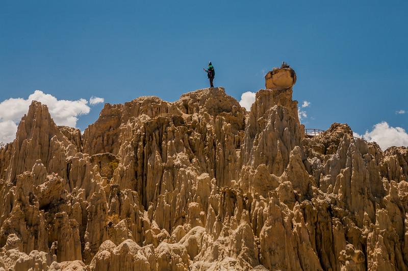 Musician at Valle de la Luna near La Paz, Bolivia