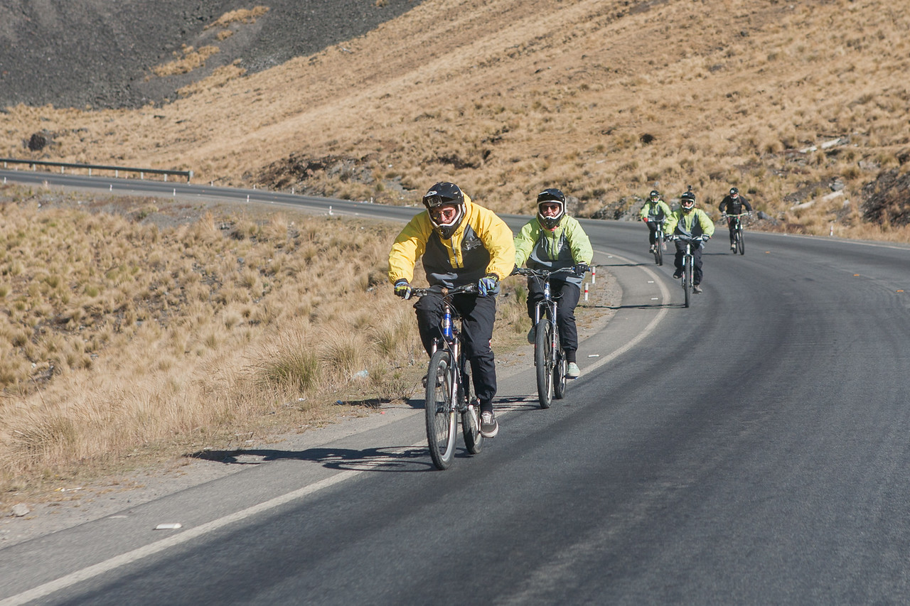Cycling through death road from La Paz to Coroico, Bolivia