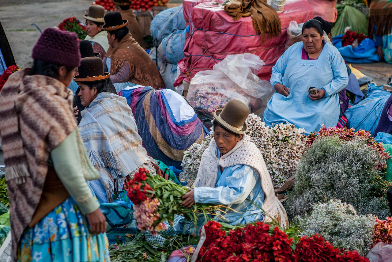 Cholitas in the morning flower Market, La Paz, Bolivia