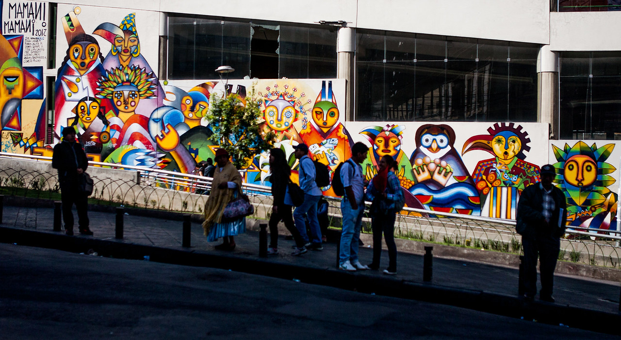 Street art by the famous MAMANI MAMANI in La Paz, Bolivia