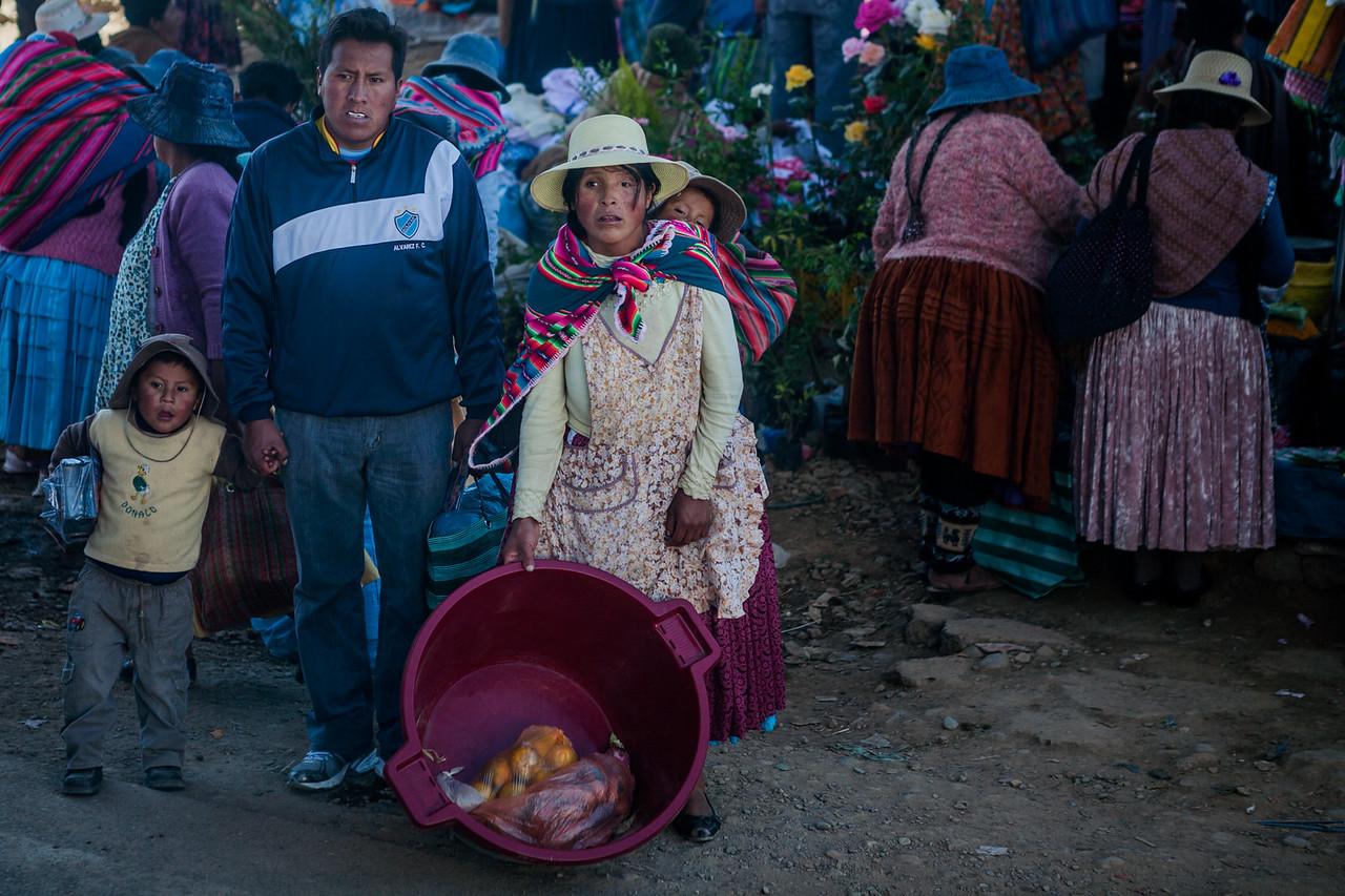 Family out for shopping near La Paz, Bolivia