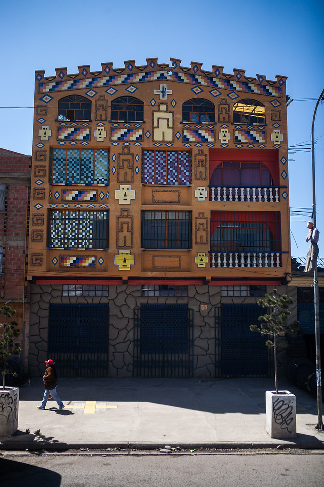 Colourful buildings on the highway to La Paz, Bolivia