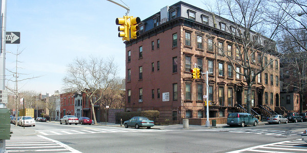 Brownstone block, NE corner of Lafayette and Vanderbilt Avenues.  Left - view north up Vanderbilt Avenue.