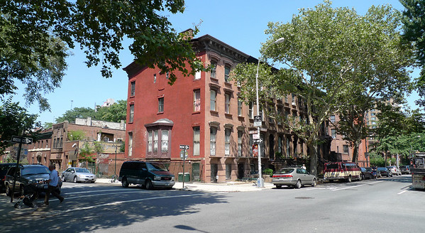 """NE corner of Willoughby Avenue (foreground) and Waverly Avenue.  """"Block"""" of brownstone houses."""