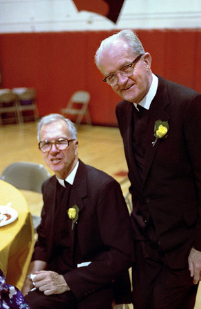 Br. Edmund Dwyer's and Bro. James Perry's 50th Anniversaries in the Institute. <small>Mass in Nativity Church followed by dinner in the gym. Date: Oct or Nov, 1990.</small>