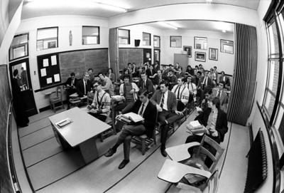#18. Dec. 1, 1970 -- seniors, fish-eye classroom shots