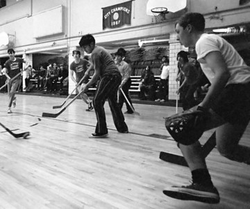 January, 1972. Intramural hockey. <small>(Tri-X developed in Acufine. Shot at 1/250th sec, 35mm f/1.4 Nikkor lens.)</small>