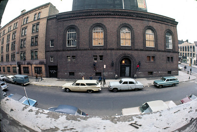 The old court building on 2nd Street.  Taken with a 17mm Takumar semi-fisheye lens modified for the Nikon mount.