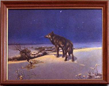 "This painting closely resembles one painted by a Polish artist named Alfred von Wierusz-Kowalski (1845-1915) which is entitled ""Lone Wolf, February."""
